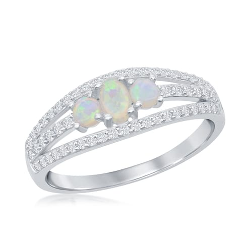 La Preciosa 925 Sterling Silver Round Lab White Created Opal & White Cubic Zirconia Engagement Band Ring