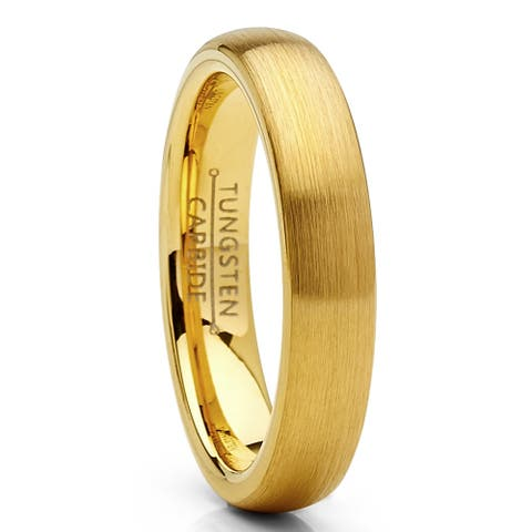 Oliveti Dome Tungsten Carbide Ring Goldtone Wedding Band 4mm Men Women Comfort Fit