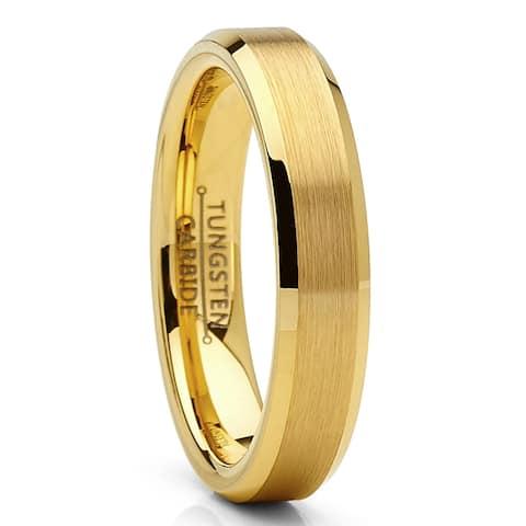 Oliveti Tungsten Carbide Ring Goldtone Wedding Band 4mm Men Women Comfort Fit