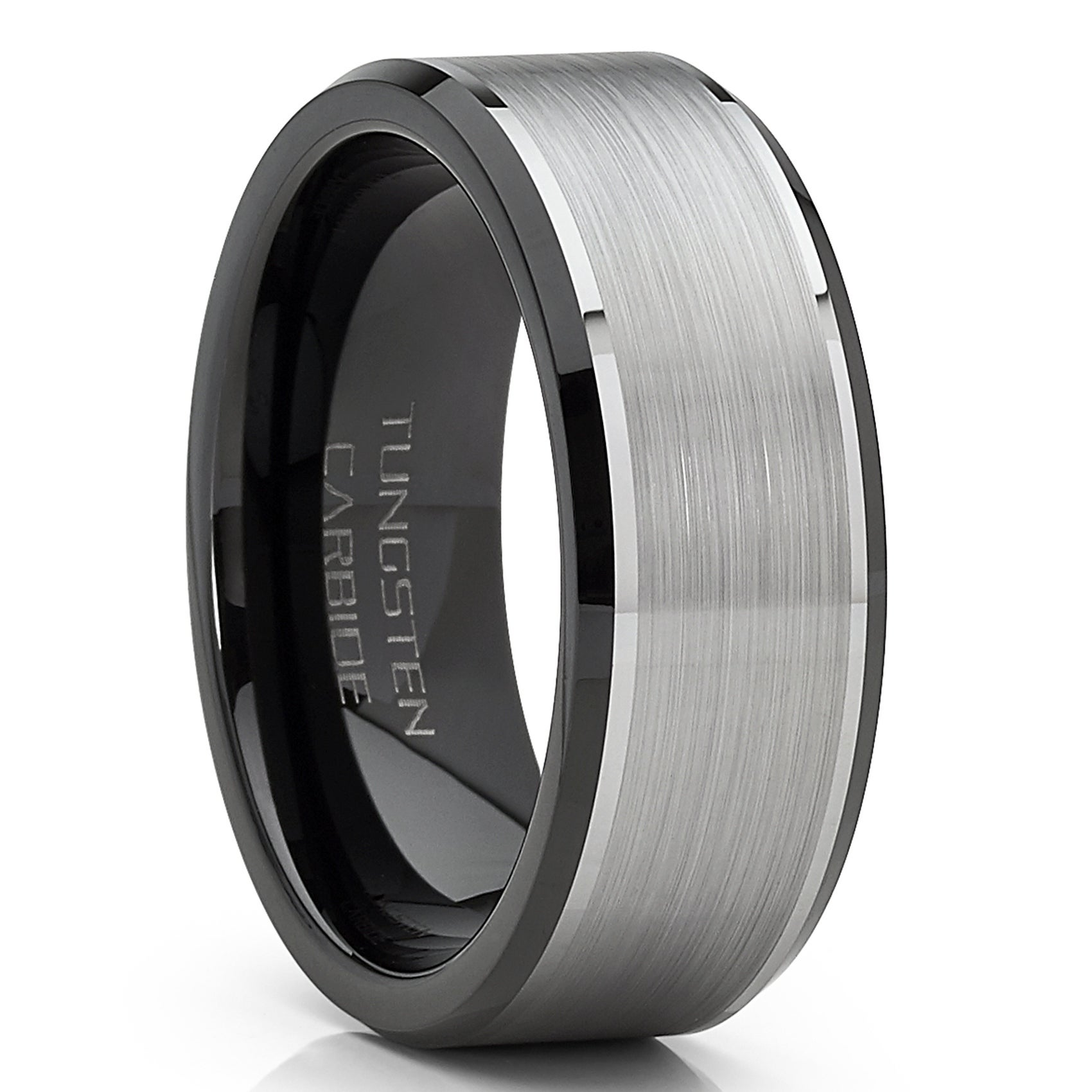 Two-Tone Men/'s Tungsten Ring 8MM Comfort Fit Black Tungsten Carbide Wedding Band