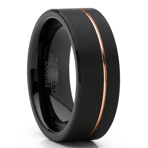Oliveti Men's Black Tungsten Carbide Ring Wedding Band with Rose Goldtone Groove 8mm