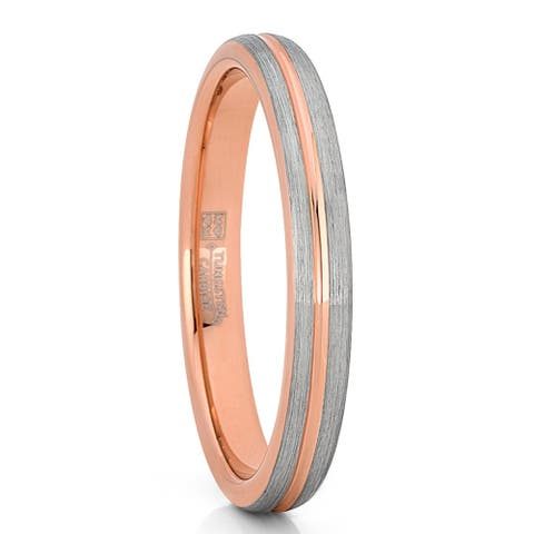 Oliveti Men's Women's Rose Goldtone Tungsten Wedding Band Engagement Ring 3mm