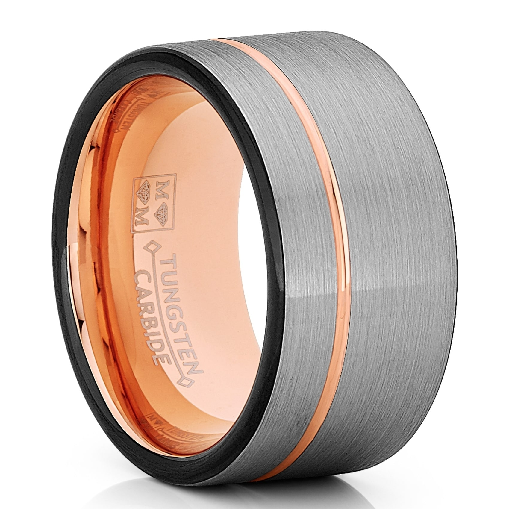 Tungsten Wedding Band Ring 12mm Men Black /& Rose Goldtone Pipe Cut