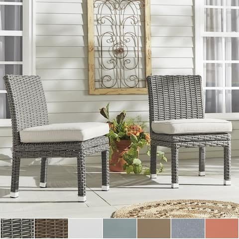 Havenside Home Nahant Wicker Patio Cushioned Dining Side Chair (Set of 2)