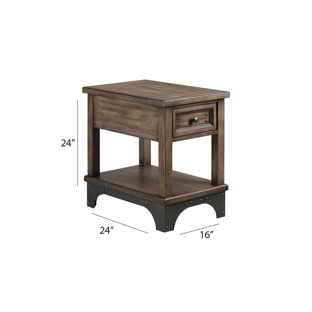 Whiskey River Gun Powder Grey 1 Drawer Chairside Table