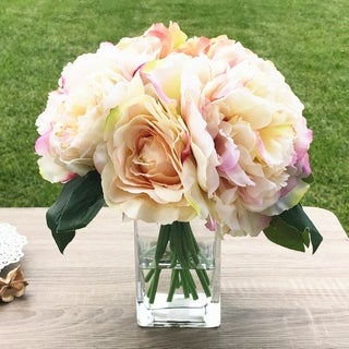 Enova Home Champagne Peony Rose and Hydrangea Mixed Faux Flower Arrangement With Clear Glass Vase