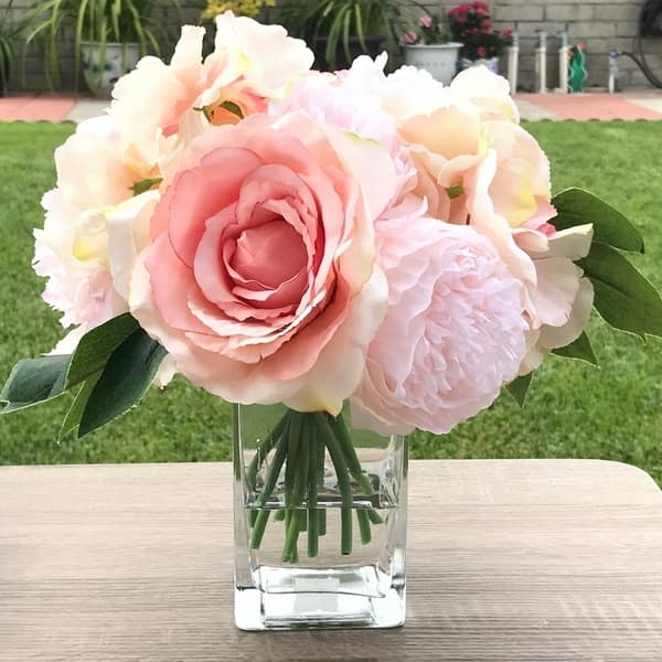 Enova Home Pink Peony Rose And Hydrangea Mixed Faux Flower Arrangement With Clear Glass Vase Overstock 27784366