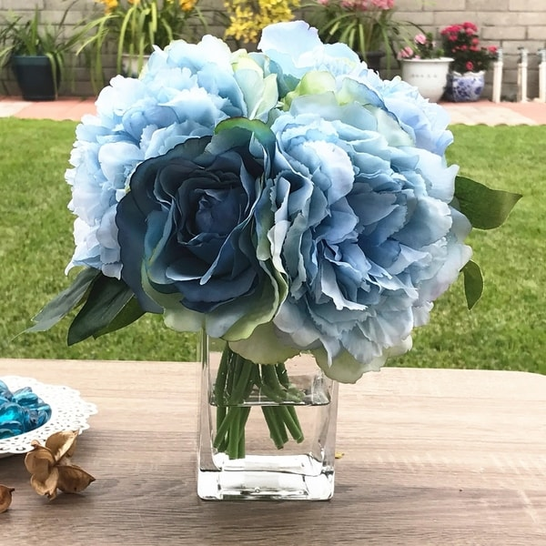Enova Home Blue Peony Rose and Hydrangea Mixed Faux Flower Arrangement With Clear Glass Vase