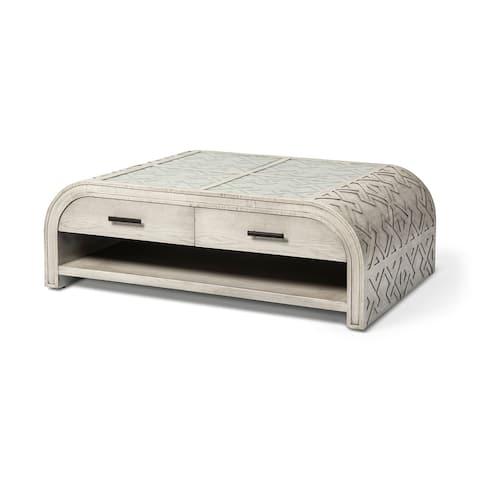 Mercana Moseley II 45x30 Grey Glass Top Solid Wood 4 Drawer Coffee Table