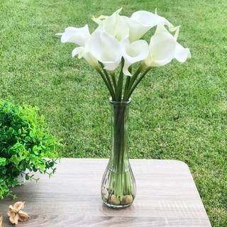 Enova Home Cream Velet Lily Faux Flower Arrangements With Glass Vase