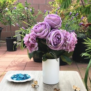 Enova Home Purple Rose and Hydrangea Mixed Faux Flower Arrangements With White Ceramic Vase