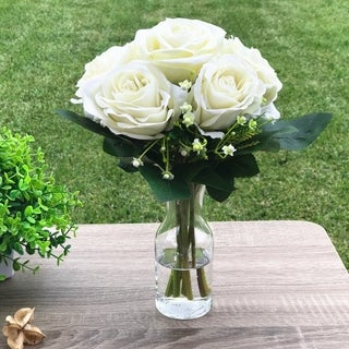 Enova Home Velet Open Rose Flower Arrangements With Clear Glass Vase