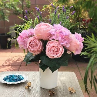 Enova Home Pink Rose and Hydrangea Mixed Faux Flower Arrangements With White Ceramic Vase