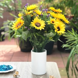 Enova Home Sunflower and Purple Mixed Faux Flower Arrangements With White Ceramic Vase - Yellow