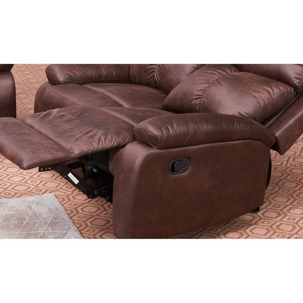 Vanity Art 2-Seater Microfiber Sofa Set Manual Reclining Loveseat for  Living Room Dining Room Recliner Sofa Set, Brown