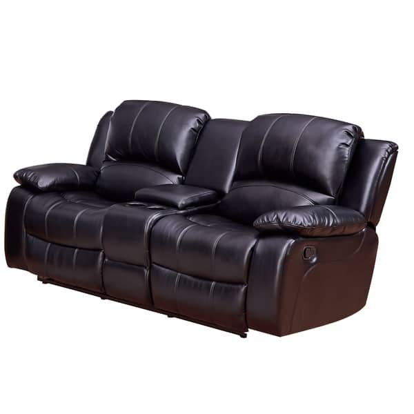 Shop Vanity Art Bonded Leather Sofa Manual Reclining ...