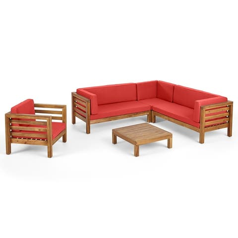 Oana Outdoor 6 Seater Acacia Wood Sectional Sofa and Club Chair Set by Christopher Knight Home