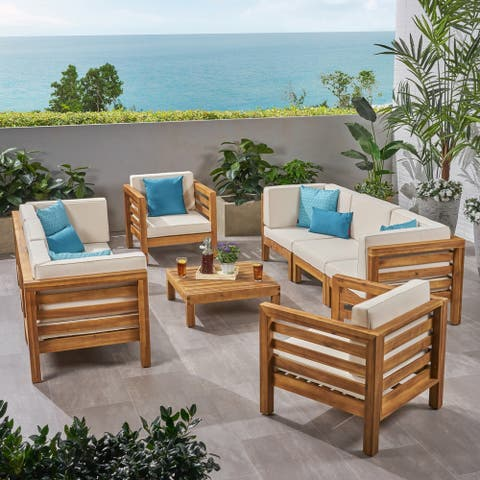 Oana Outdoor 8 Seater Acacia Wood Sofa and Club Chair Set by Christopher Knight Home