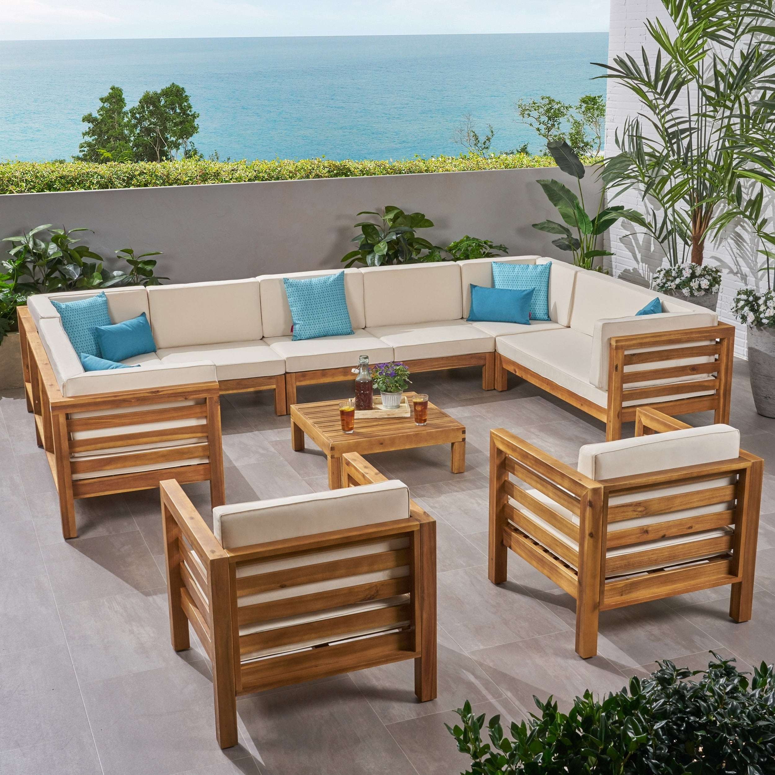 Oana Outdoor 11 Seater Acacia Wood Sectional Sofa And Club Chair Set By Christopher Knight Home Overstock 27785011