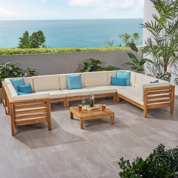 Wood Sectional Patio Furniture.Shop Oana Outdoor 9 Seater Acacia Wood Sectional Sofa Set By