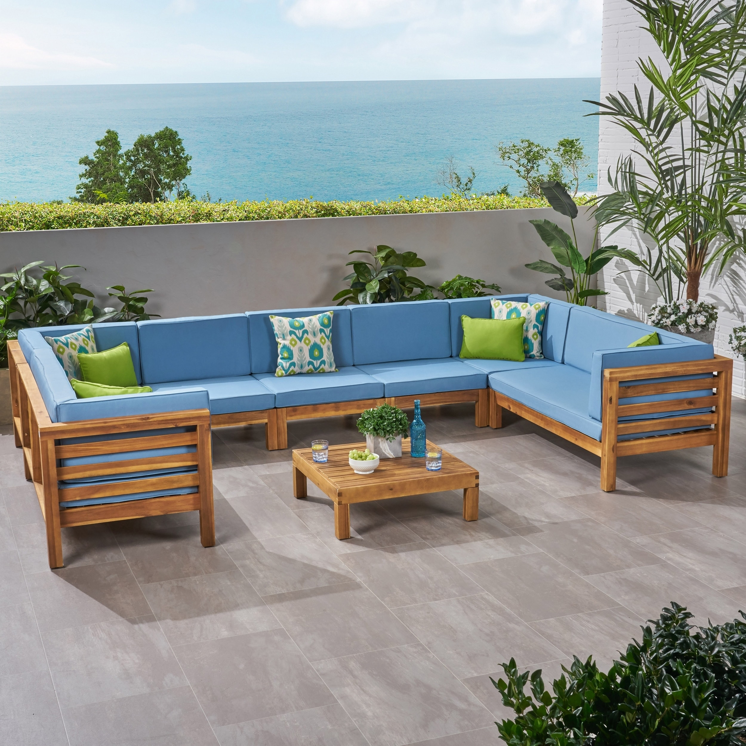 Brilliant Oana Outdoor 9 Seater Acacia Wood Sectional Sofa Set By Christopher Knight Home Short Links Chair Design For Home Short Linksinfo