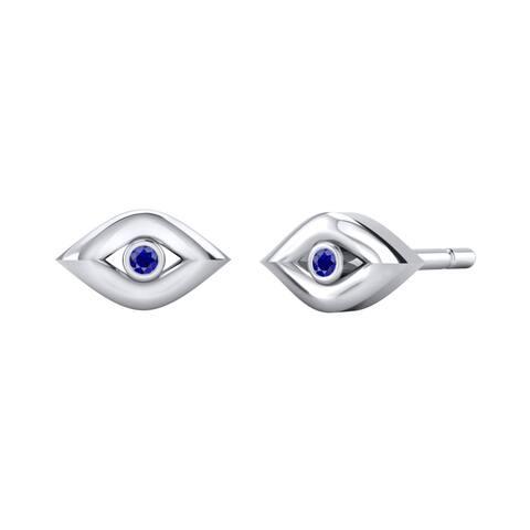 Auriya Blue Sapphire Accent Evil Eye Stud Earrings 10K Gold