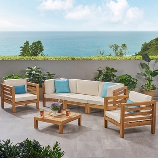 Oana Outdoor 5 Seater Acacia Wood Sofa Chat Set by Christopher Knight Home