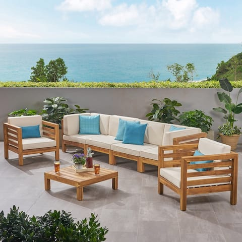 Oana Outdoor 6 Seater Acacia Wood Sofa Chat Set by Christopher Knight Home