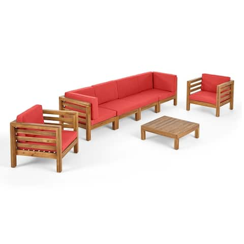 Oana Outdoor 6-seater Acacia Wood Sofa Chat Set by Christopher Knight Home