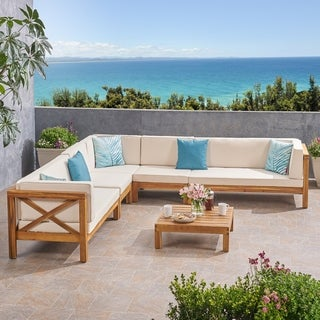 Link to Brava Outdoor 7 Seater Acacia Wood Sectional Sofa Set by Christopher Knight Home Similar Items in Patio Sets