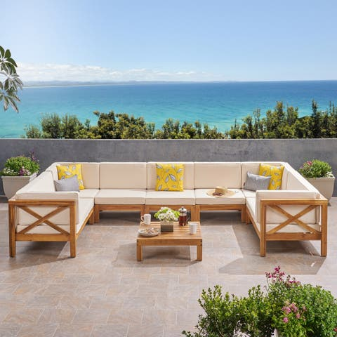 Brava Outdoor 8-piece Acacia Wood Sectional Sofa Set by Christopher Knight Home