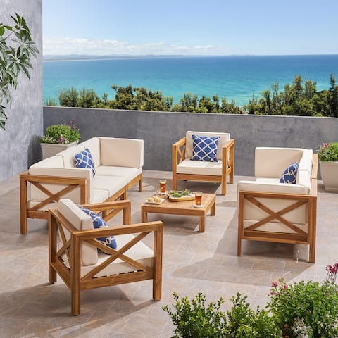 Brava Outdoor 8 Seater Acacia Wood Sofa and Club Chair Set by Christopher Knight Home