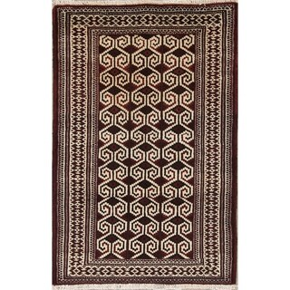 "Balouch Geometric Handmade Wool Persian Oriental Area Rug - 3'11"" x 2'8"""