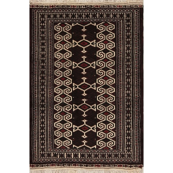 "Balouch Geometric Handmade Wool Persian Oriental Area Rug - 3'10"" x 2'8"""