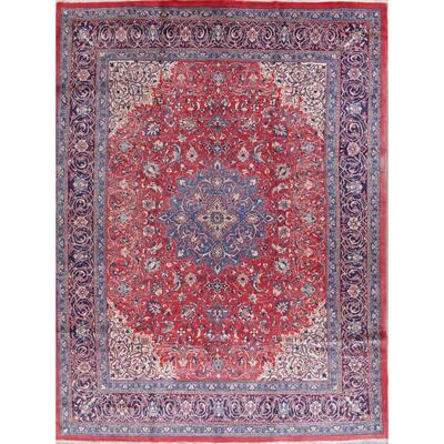 "Sarouk Floral Medallion Handmade Wool Persian Oriental Area Rug - 13'1"" x 9'11"""
