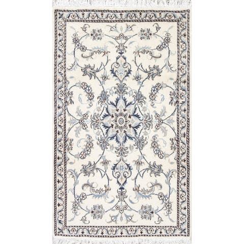 """One of a Kind Nain Floral Handmade Wool Persian Oriental Area Rug - 4'9"""" x 2'10"""""""