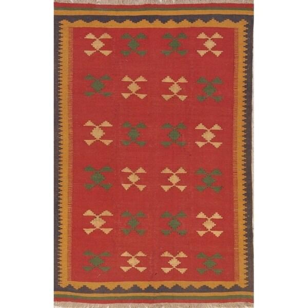 "Kilim Shiraz Geometric Hand-Woven Wool Persian Oriental Area Rug - 8'4"" x 5'4"""