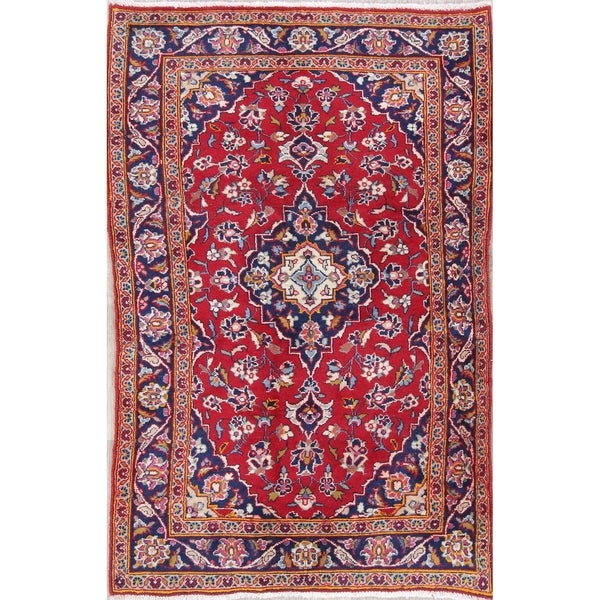 "Kashan Floral Medallion Traditional Handmade Wool Persian Area Rug - 5'0"" x 3'1"""