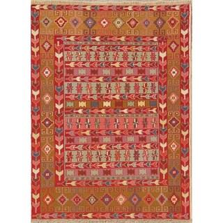 "Kilim Shiraz Geometric Hand-Woven Wool Persian Oriental Area Rug - 4'7"" x 3'5"""