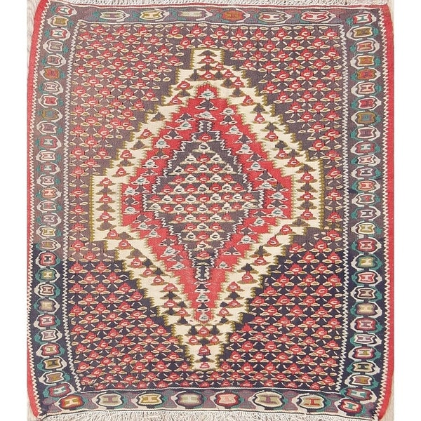 """One of a Kind Senneh Geometric Hand-Woven Wool Persian Oriental Rug - 3'1"""" x 2'9"""" Square"""