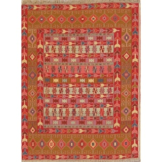 "Kilim Shiraz Geometric Hand-Woven Wool Persian Oriental Area Rug - 4'7"" x 3'6"""