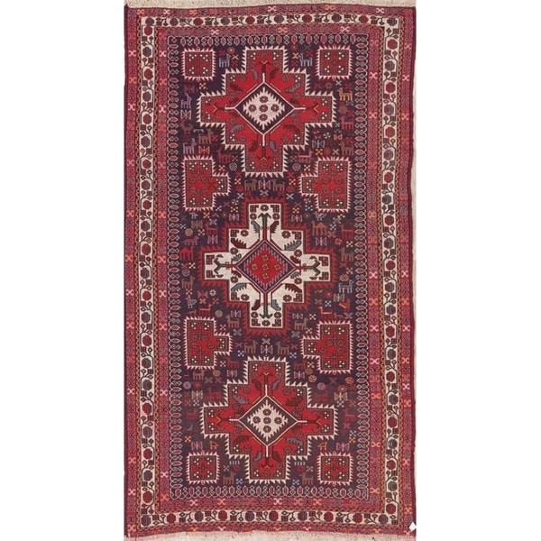 "Sumak Sirjan Tribal Geometric Hand-Woven Wool Persian Area Rug - 8'6"" x 4'7"""