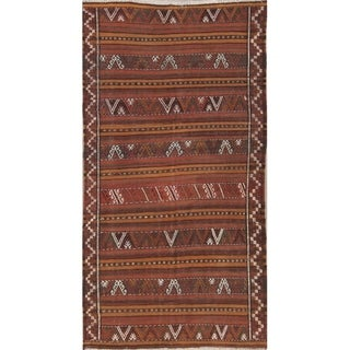 "Kilim Shiraz Geometric Hand-Woven Wool Persian Oriental Rug - 9'8"" x 5'1"" Runner"