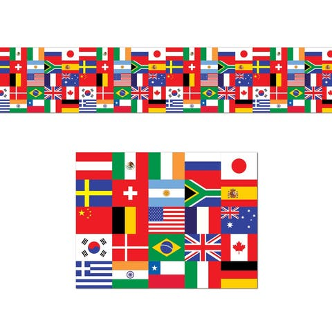 "Beistle 18"" x 25' International Flag Poly Decorating Rolled Streamer - 12 Pack (1/Pkg)"