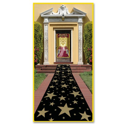 "Beistle 24"" x 10' Awards Night Novelty Poly Gold Star Runner with Double Stick Tape - 6 Pack (1/Pkg)"