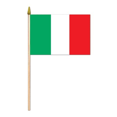 """Beistle 4"""" x 6"""" Fabric Novelty Italian Flag with 10.5"""" Spear Tipped Wooden Stick - 12 Pack"""