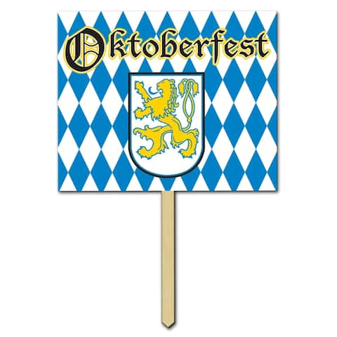 """Beistle 12"""" x 15"""" Oktoberfest Yard Sign with 24"""" Pine Stake, Printed 2 Sides - 6 Pack"""