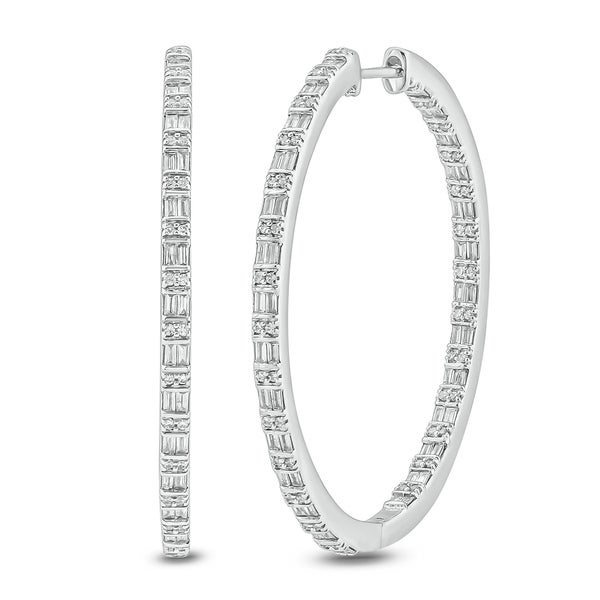 Cali Trove 1ct TDW Hoop Earring In10 KT White Gold