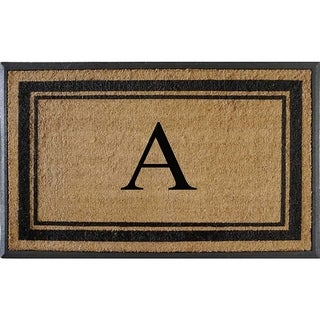 """A1HC First Impression Markham Border Natural Rubber Double Door Extra Large Monogrammed Doormat-(30""""x48"""")"""