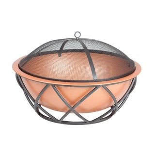 Barzelonia Round Copper Look Fire Pit - N/A